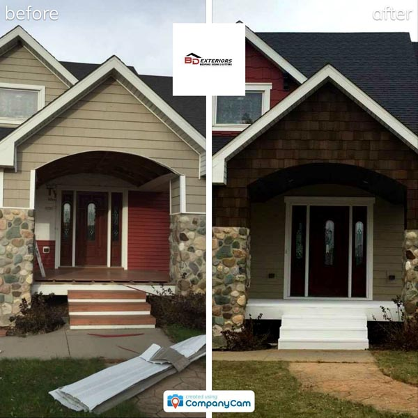 Residential siding before and after
