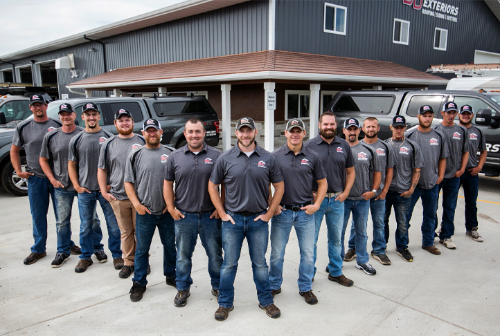 The BD Exteriors team in St. Cloud, MN. Ready for your next roofing, siding, gutters, or other exterior project.
